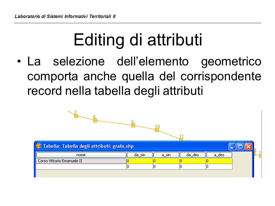 Editing di attributi Laboratorio di Sistemi Informativi Territoriali II La selezione dell'elemento geometrico comporta anche quella del corrispondente