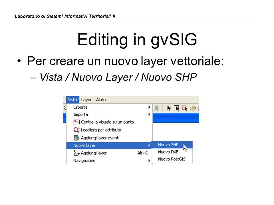 Editing in gvSIG Laboratorio di Sistemi Informativi Territoriali II Per creare un nuovo layer vettoriale: –Vista / Nuovo Layer / Nuovo SHP