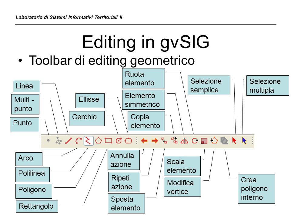 Editing in gvSIG Laboratorio di Sistemi Informativi Territoriali II Toolbar di editing geometrico Linea Arco Punto Multi - punto Polilinea Poligono Re