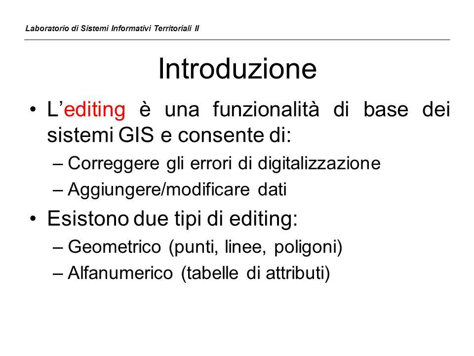 Introduzione L'editing è una funzionalità di base dei sistemi GIS e consente di: –Correggere gli errori di digitalizzazione –Aggiungere/modificare dat