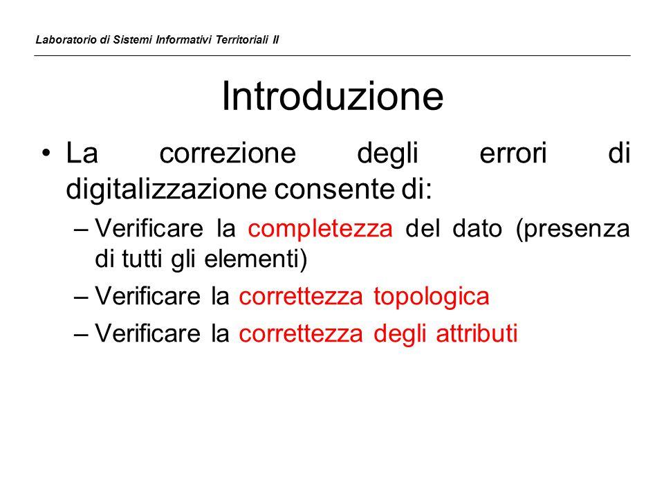 Introduzione La correzione degli errori di digitalizzazione consente di: –Verificare la completezza del dato (presenza di tutti gli elementi) –Verific