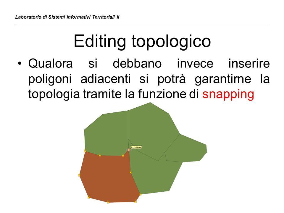 Editing topologico Qualora si debbano invece inserire poligoni adiacenti si potrà garantirne la topologia tramite la funzione di snapping Laboratorio