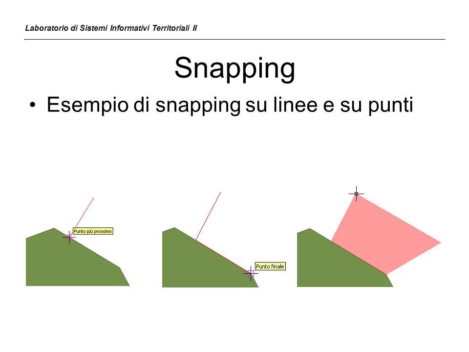 Snapping Esempio di snapping su linee e su punti Laboratorio di Sistemi Informativi Territoriali II