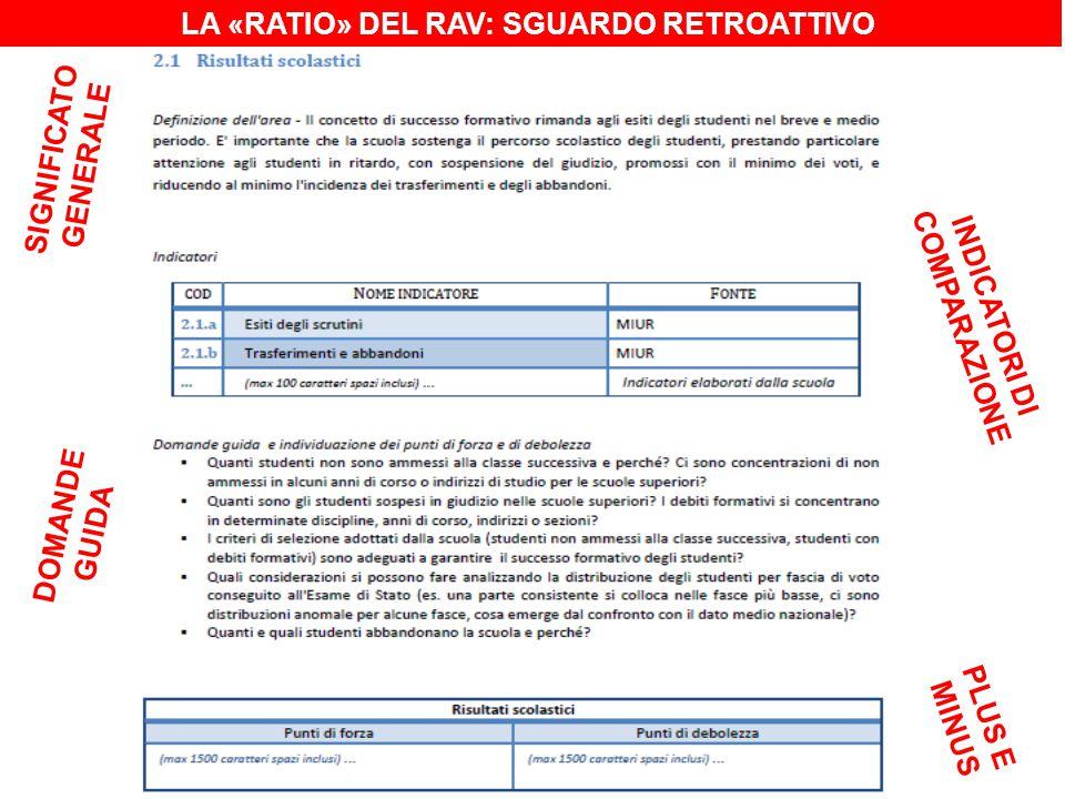 LA «RATIO» DEL RAV: SGUARDO RETROATTIVO SIGNIFICATO GENERALE INDICATORI DI COMPARAZIONE DOMANDE GUIDA PLUS E MINUS