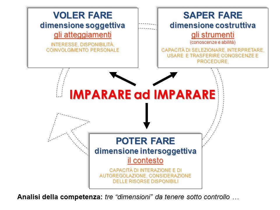 """IMPARARE ad IMPARARE Analisi della competenza: tre """"dimensioni"""" da tenere sotto controllo … SAPER FARE dimensione costruttiva gli strumenti (conoscenz"""