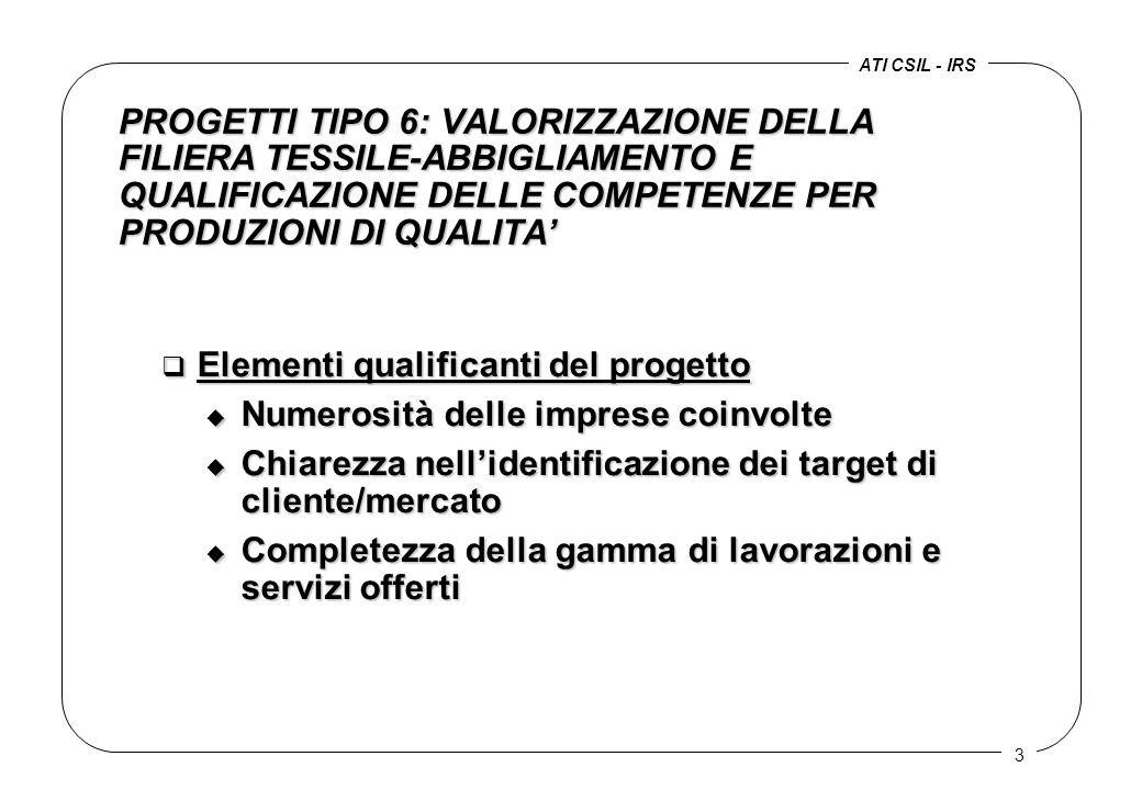 3 PROGETTI TIPO 6: VALORIZZAZIONE DELLA FILIERA TESSILE-ABBIGLIAMENTO E QUALIFICAZIONE DELLE COMPETENZE PER PRODUZIONI DI QUALITA' q Elementi qualificanti del progetto u Numerosità delle imprese coinvolte u Chiarezza nell'identificazione dei target di cliente/mercato u Completezza della gamma di lavorazioni e servizi offerti ATI CSIL - IRS