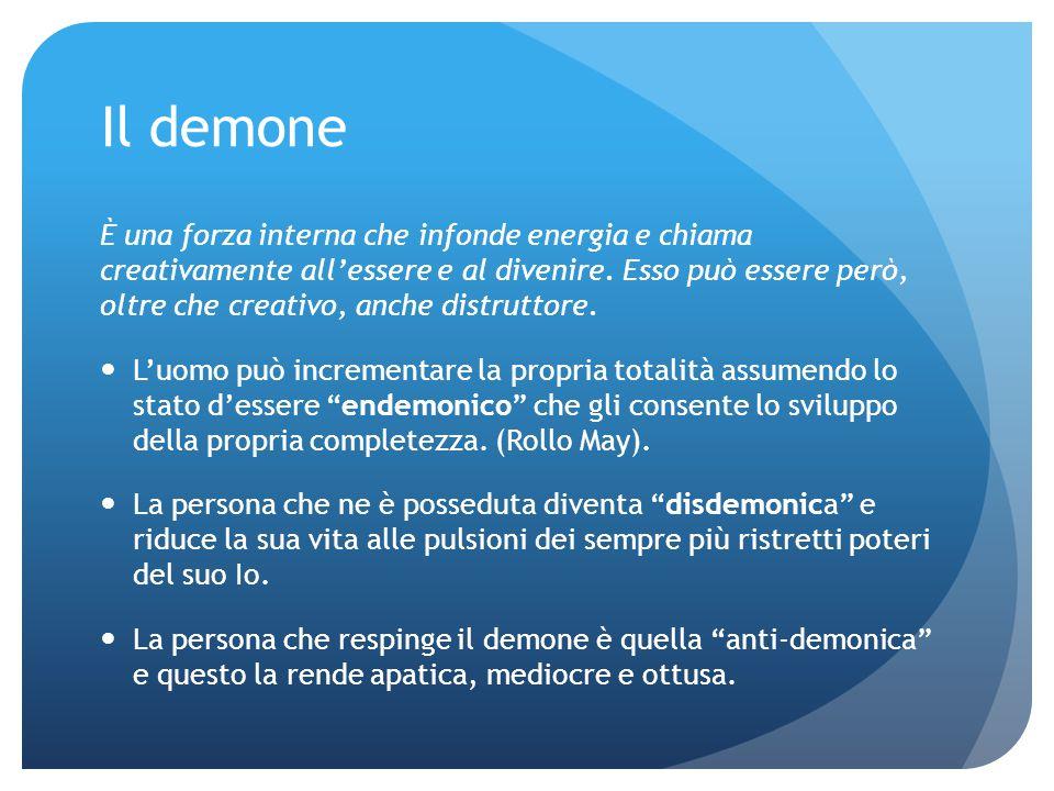 Il demone È una forza interna che infonde energia e chiama creativamente all'essere e al divenire. Esso può essere però, oltre che creativo, anche dis