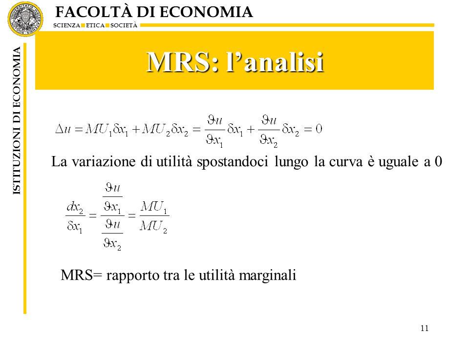 FACOLTÀ DI ECONOMIA SCIENZA ETICA SOCIETÀ ISTITUZIONI DI ECONOMIA MRS: l'analisi 11 La variazione di utilità spostandoci lungo la curva è uguale a 0 M