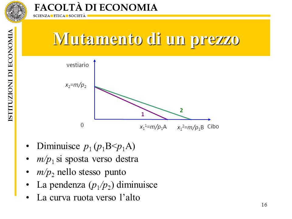 FACOLTÀ DI ECONOMIA SCIENZA ETICA SOCIETÀ ISTITUZIONI DI ECONOMIA 16 Mutamento di un prezzo Diminuisce p 1 (p 1 B<p 1 A) m/p 1 si sposta verso destra m/p 2 nello stesso punto La pendenza (p 1 /p 2 ) diminuisce La curva ruota verso l'alto vestiario Cibo x 2 =m/p 2 x 1 1 =m/p 1 A 0 1 2 x 1 2 =m/p 1 B