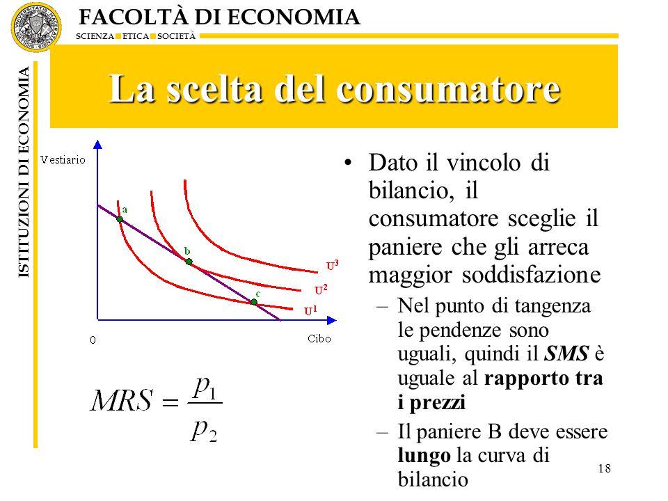 FACOLTÀ DI ECONOMIA SCIENZA ETICA SOCIETÀ ISTITUZIONI DI ECONOMIA 18 La scelta del consumatore Dato il vincolo di bilancio, il consumatore sceglie il paniere che gli arreca maggior soddisfazione –Nel punto di tangenza le pendenze sono uguali, quindi il SMS è uguale al rapporto tra i prezzi –Il paniere B deve essere lungo la curva di bilancio