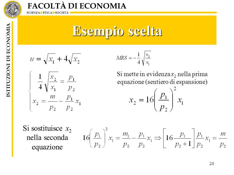FACOLTÀ DI ECONOMIA SCIENZA ETICA SOCIETÀ ISTITUZIONI DI ECONOMIA Esempio scelta 20 Si mette in evidenza x 2 nella prima equazione (sentiero di espans