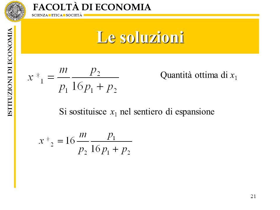 FACOLTÀ DI ECONOMIA SCIENZA ETICA SOCIETÀ ISTITUZIONI DI ECONOMIA Le soluzioni 21 Quantità ottima di x 1 Si sostituisce x 1 nel sentiero di espansione