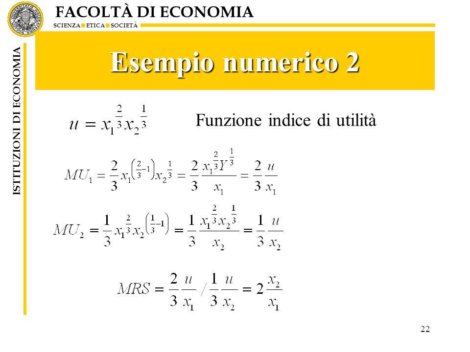 FACOLTÀ DI ECONOMIA SCIENZA ETICA SOCIETÀ ISTITUZIONI DI ECONOMIA 22 Esempio numerico 2 Funzione indice di utilità