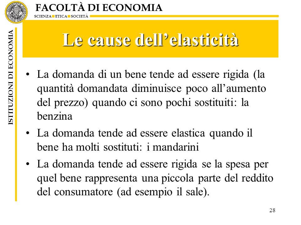 FACOLTÀ DI ECONOMIA SCIENZA ETICA SOCIETÀ ISTITUZIONI DI ECONOMIA 28 Le cause dell'elasticità La domanda di un bene tende ad essere rigida (la quantit