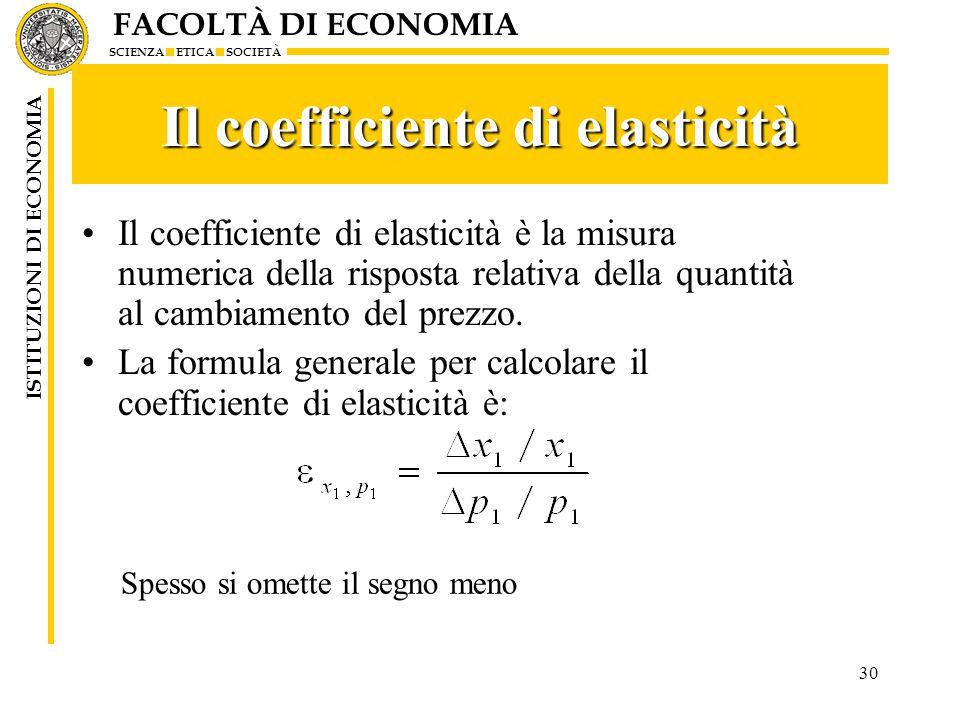 FACOLTÀ DI ECONOMIA SCIENZA ETICA SOCIETÀ ISTITUZIONI DI ECONOMIA 30 Il coefficiente di elasticità Il coefficiente di elasticità è la misura numerica