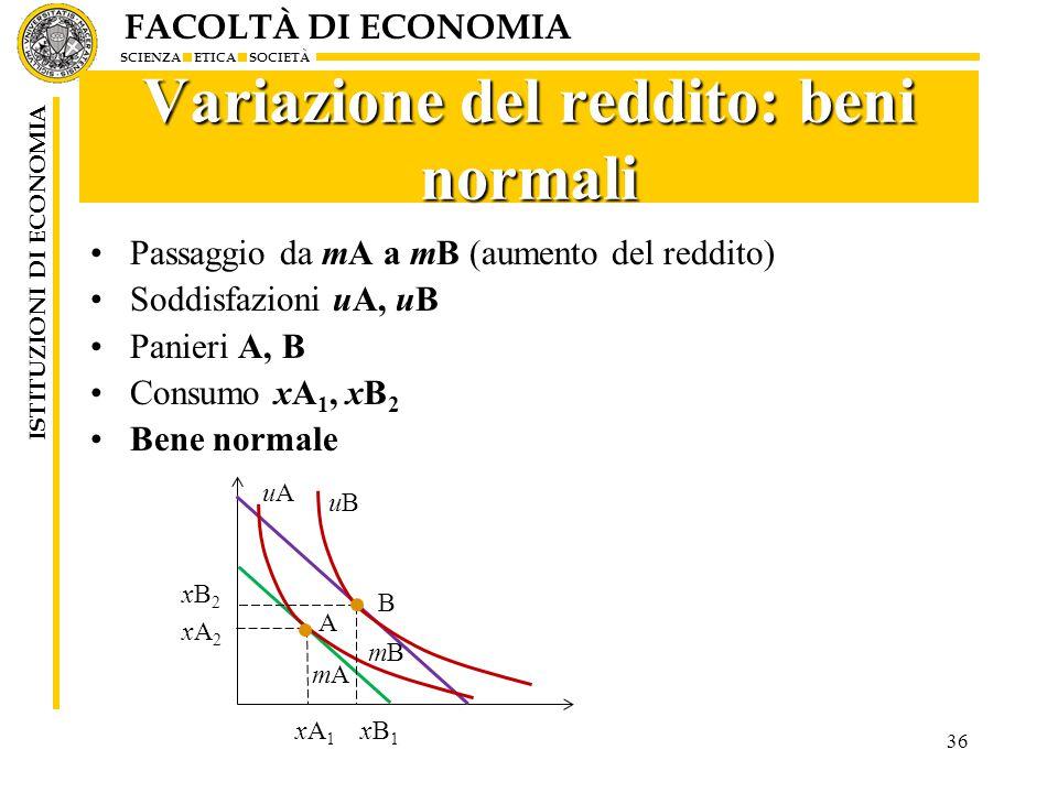 FACOLTÀ DI ECONOMIA SCIENZA ETICA SOCIETÀ ISTITUZIONI DI ECONOMIA 36 Variazione del reddito: beni normali Passaggio da mA a mB (aumento del reddito) Soddisfazioni uA, uB Panieri A, B Consumo xA 1, xB 2 Bene normale xB2xB2 xA2xA2 xA1xA1 xB1xB1 mBmB mAmA uAuA uBuB A B