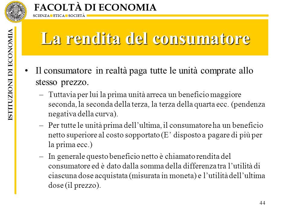 FACOLTÀ DI ECONOMIA SCIENZA ETICA SOCIETÀ ISTITUZIONI DI ECONOMIA 44 La rendita del consumatore Il consumatore in realtà paga tutte le unità comprate allo stesso prezzo.