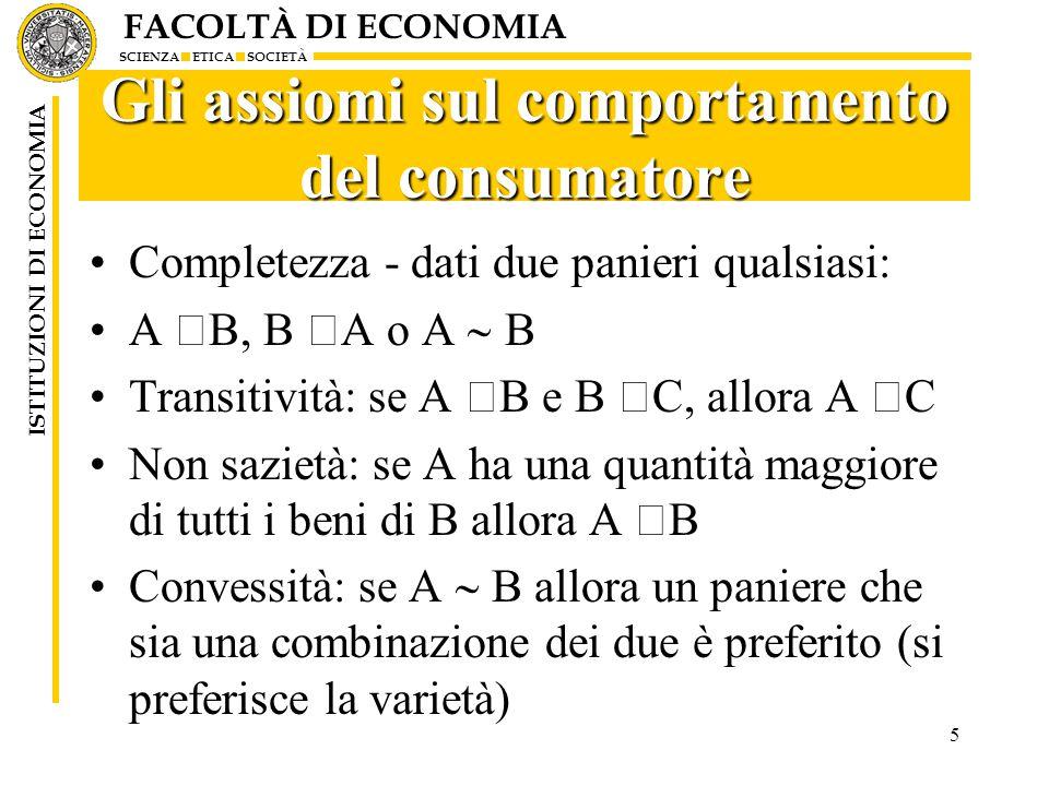FACOLTÀ DI ECONOMIA SCIENZA ETICA SOCIETÀ ISTITUZIONI DI ECONOMIA Gli assiomi sul comportamento del consumatore Completezza - dati due panieri qualsiasi: A  B, B  A o A  B Transitività: se A  B e B  C, allora A  C Non sazietà: se A ha una quantità maggiore di tutti i beni di B allora A  B Convessità: se A  B allora un paniere che sia una combinazione dei due è preferito (si preferisce la varietà) 5