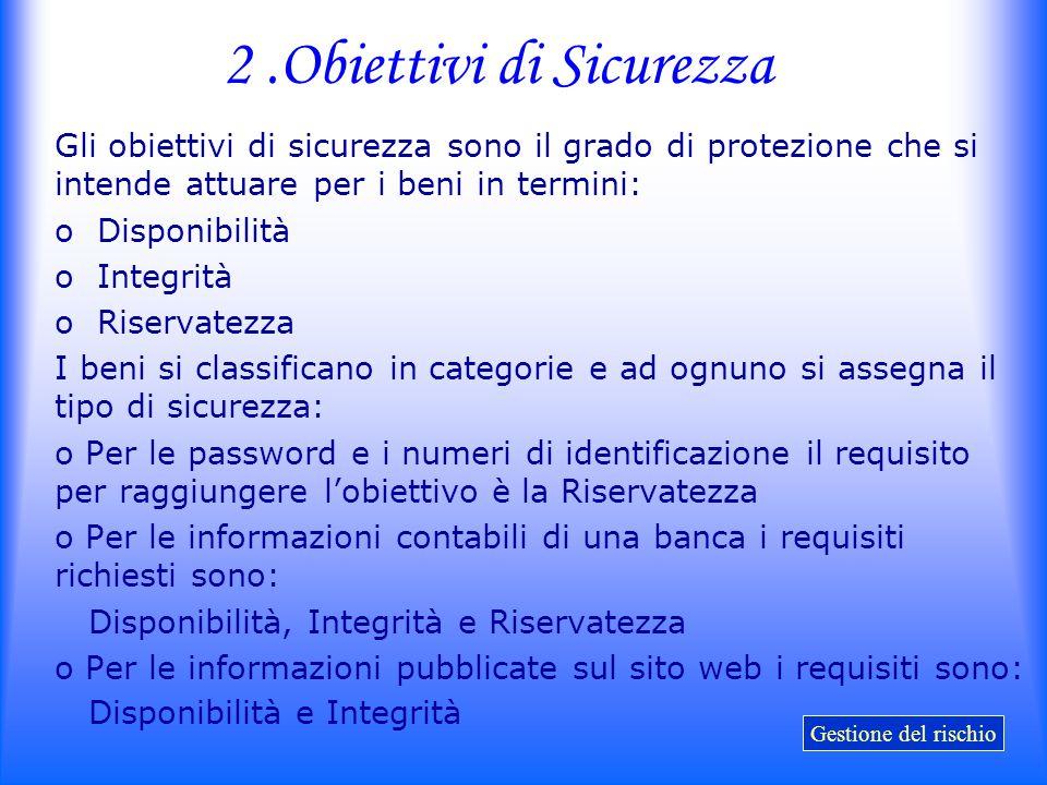 2.Obiettivi di Sicurezza Gli obiettivi di sicurezza sono il grado di protezione che si intende attuare per i beni in termini: o Disponibilità o Integr