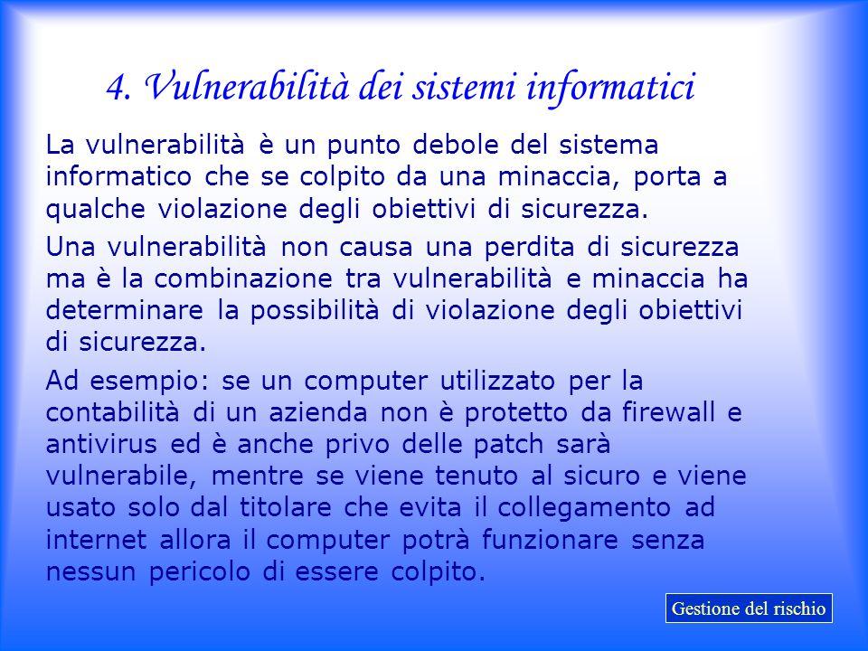 4. Vulnerabilità dei sistemi informatici La vulnerabilità è un punto debole del sistema informatico che se colpito da una minaccia, porta a qualche vi