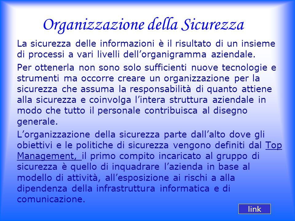 Organizzazione della Sicurezza La sicurezza delle informazioni è il risultato di un insieme di processi a vari livelli dell'organigramma aziendale. Pe