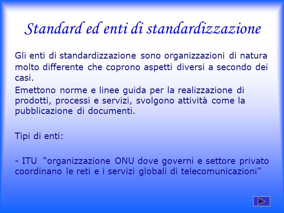 Standard ed enti di standardizzazione Gli enti di standardizzazione sono organizzazioni di natura molto differente che coprono aspetti diversi a secon