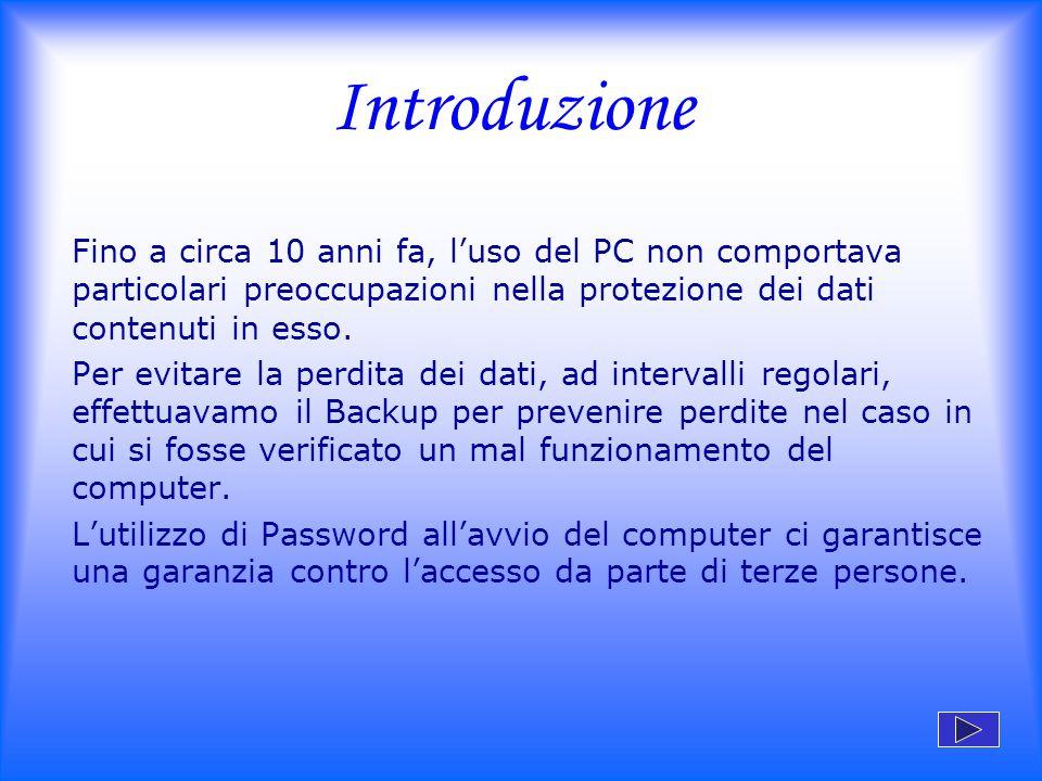 Introduzione Fino a circa 10 anni fa, l'uso del PC non comportava particolari preoccupazioni nella protezione dei dati contenuti in esso. Per evitare
