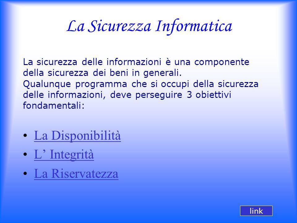 La Sicurezza Informatica La sicurezza delle informazioni è una componente della sicurezza dei beni in generali. Qualunque programma che si occupi dell
