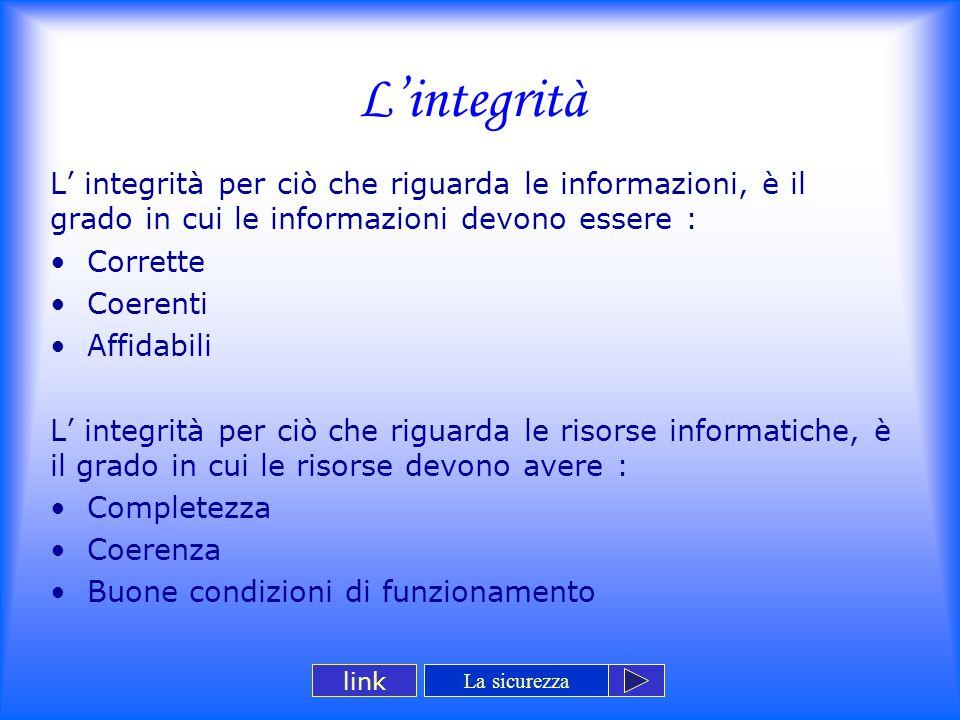L'integrità L' integrità per ciò che riguarda le informazioni, è il grado in cui le informazioni devono essere : Corrette Coerenti Affidabili L' integ