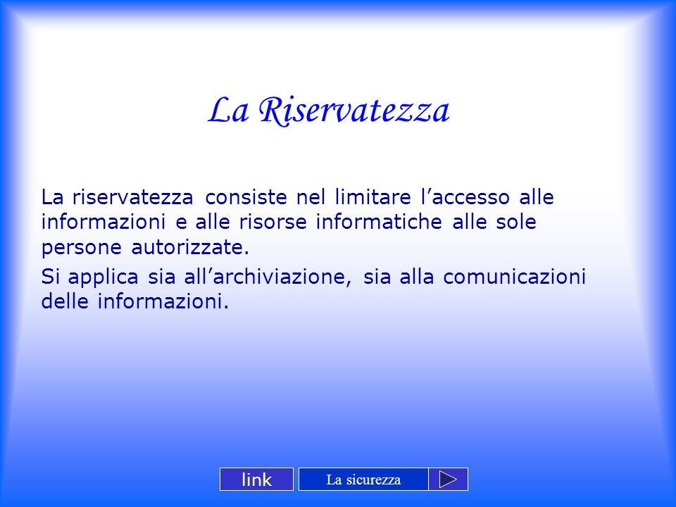 La Riservatezza La riservatezza consiste nel limitare l'accesso alle informazioni e alle risorse informatiche alle sole persone autorizzate. Si applic