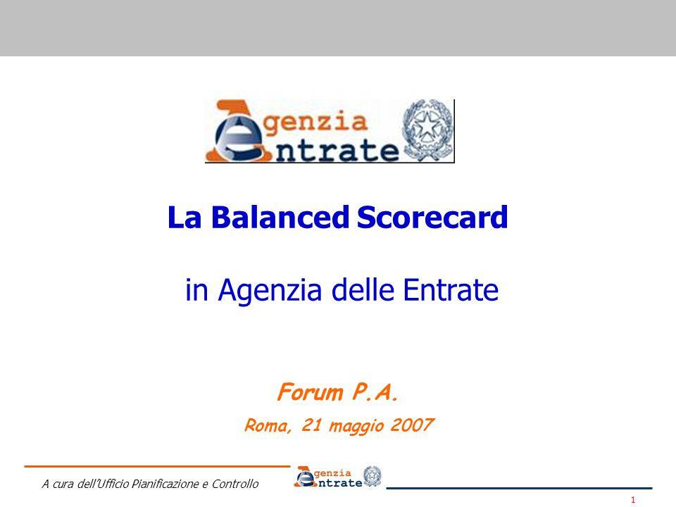 A cura dell'Ufficio Pianificazione e Controllo 1 La Balanced Scorecard in Agenzia delle Entrate Forum P.A.