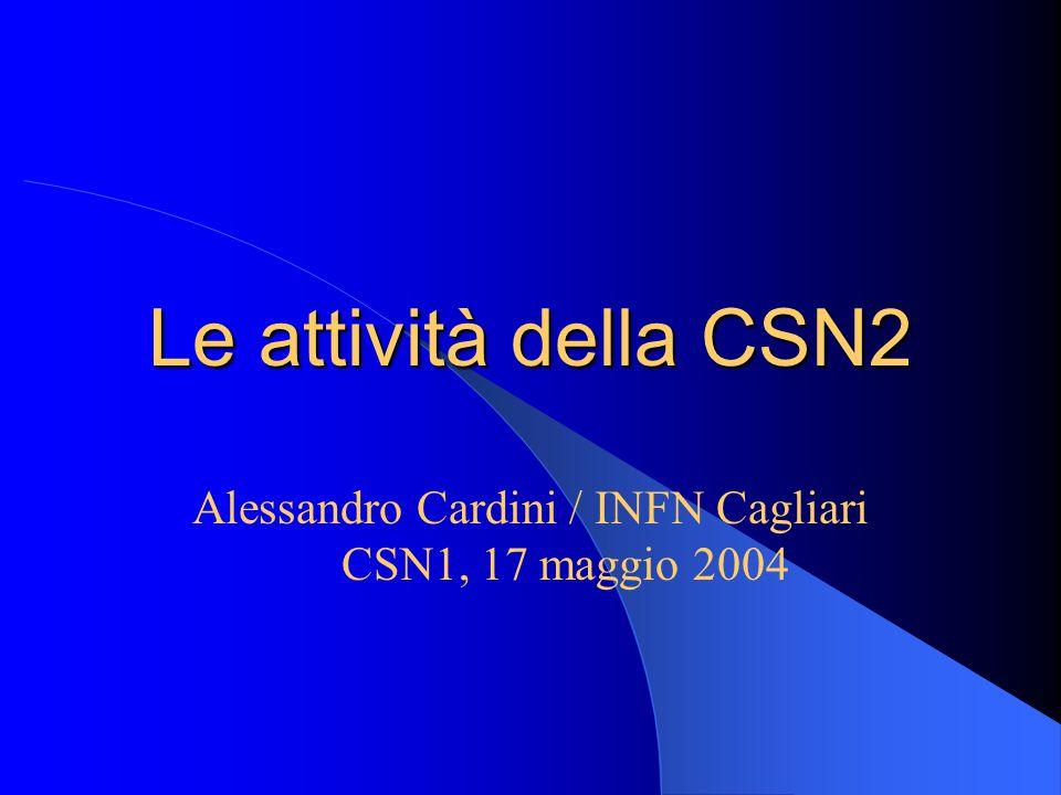 Le attività della CSN2 Alessandro Cardini / INFN Cagliari CSN1, 17 maggio 2004