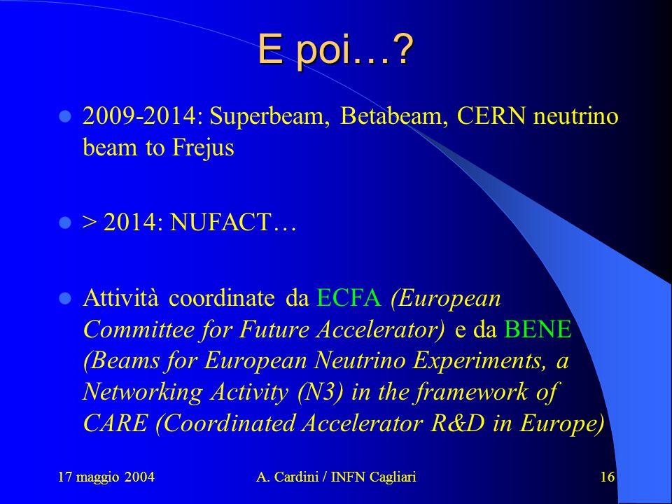 17 maggio 2004A. Cardini / INFN Cagliari16 E poi….