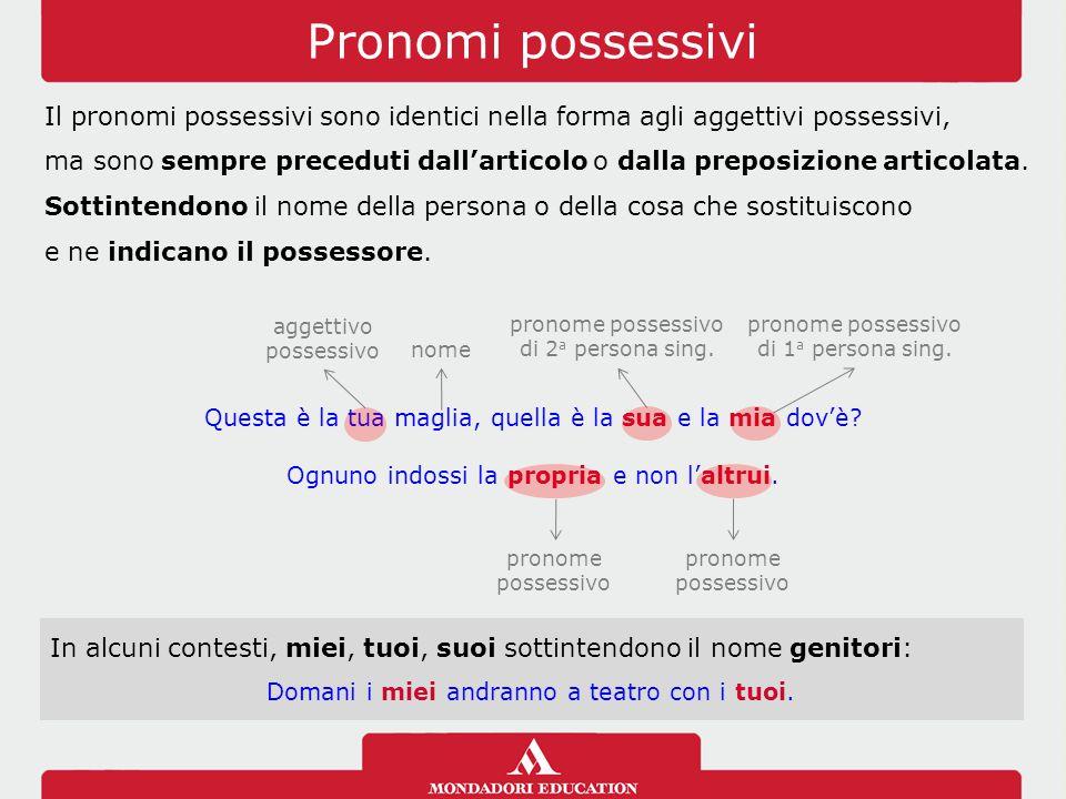 Pronomi possessivi Il pronomi possessivi sono identici nella forma agli aggettivi possessivi, ma sono sempre preceduti dall'articolo o dalla preposizione articolata.