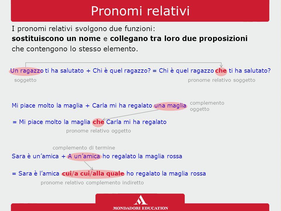 Pronomi relativi I pronomi relativi svolgono due funzioni: sostituiscono un nome e collegano tra loro due proposizioni che contengono lo stesso elemento.