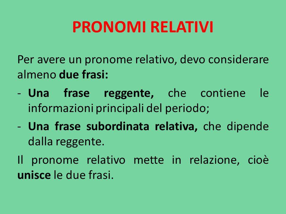 PRONOMI RELATIVI Per avere un pronome relativo, devo considerare almeno due frasi: -Una frase reggente, che contiene le informazioni principali del pe