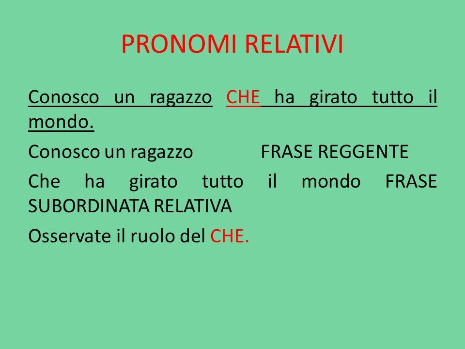 PRONOMI RELATIVI Come tutti i pronomi, anche il relativo sostituisce un nome: si trova nella frase reggente e viene chiamato ANTECEDENTE.