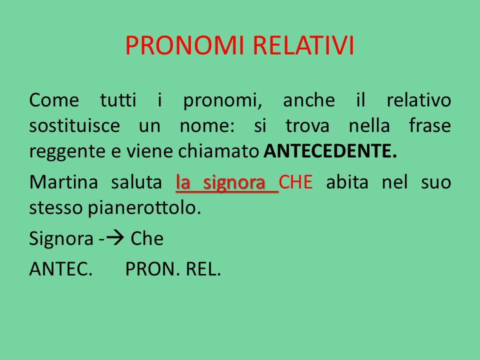 PRONOMI RELATIVI Come tutti i pronomi, anche il relativo sostituisce un nome: si trova nella frase reggente e viene chiamato ANTECEDENTE. la signora M