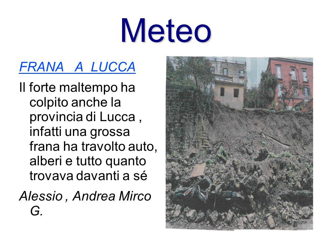 FRANA A LUCCA Il forte maltempo ha colpito anche la provincia di Lucca, infatti una grossa frana ha travolto auto, alberi e tutto quanto trovava davan