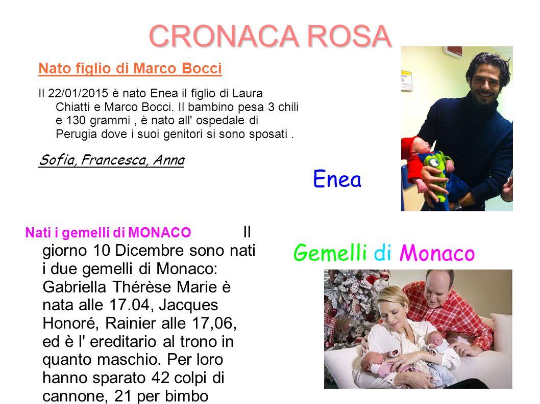 CRONACA ROSA Nato figlio di Marco Bocci Il 22/01/2015 è nato Enea il figlio di Laura Chiatti e Marco Bocci. Il bambino pesa 3 chili e 130 grammi, è na