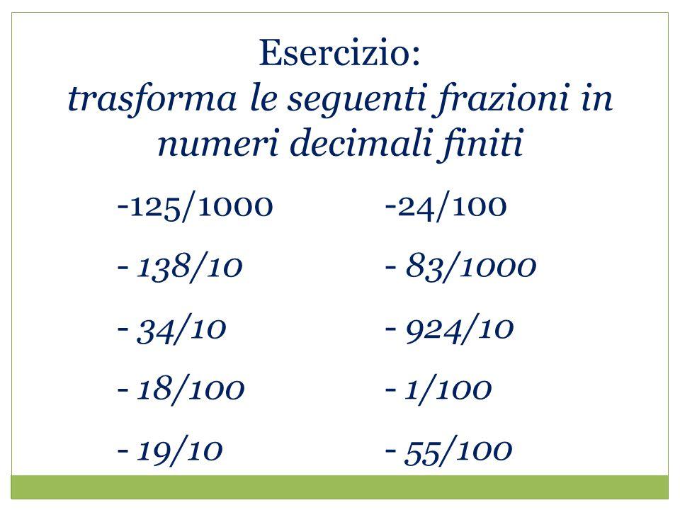Esercizio: trasforma le seguenti frazioni in numeri decimali finiti -125/1000 - 138/10 - 34/10 - 18/100 - 19/10 -24/100 - 83/1000 - 924/10 - 1/100 - 55/100