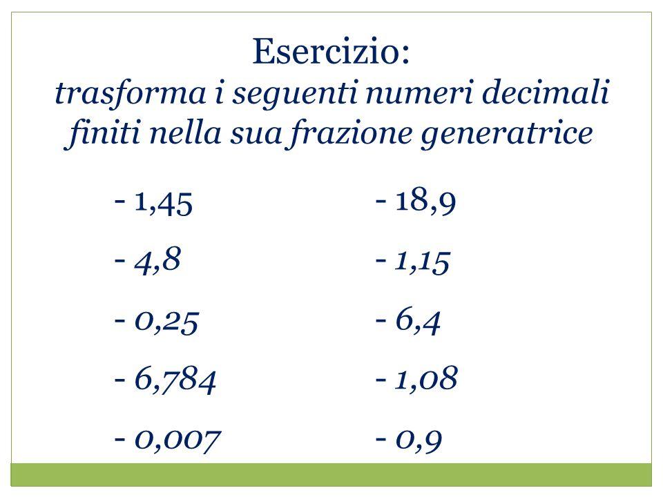 Esercizio: trasforma i seguenti numeri decimali finiti nella sua frazione generatrice - 1,45 - 4,8 - 0,25 - 6,784 - 0,007 - 18,9 - 1,15 - 6,4 - 1,08 - 0,9