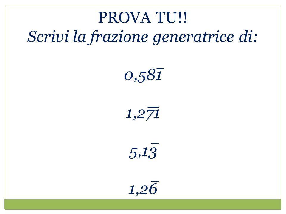 PROVA TU!! Scrivi la frazione generatrice di: 0,581 1,271 5,13 1,26