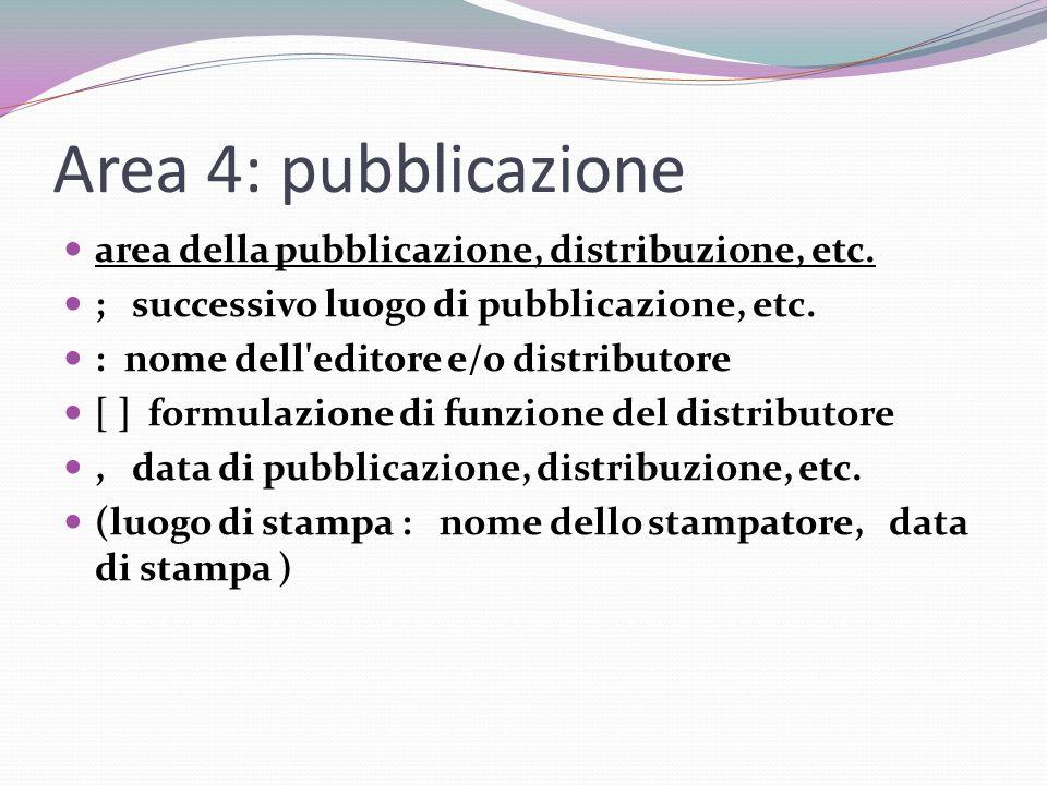 Area 4: pubblicazione area della pubblicazione, distribuzione, etc.