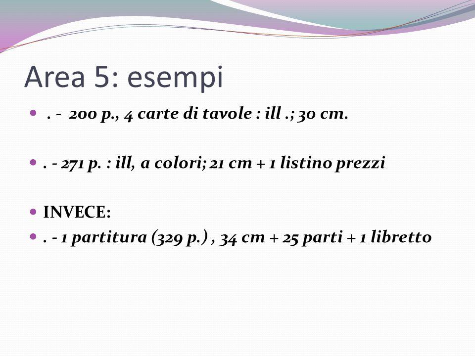 Area 5: esempi.- 200 p., 4 carte di tavole : ill.; 30 cm..