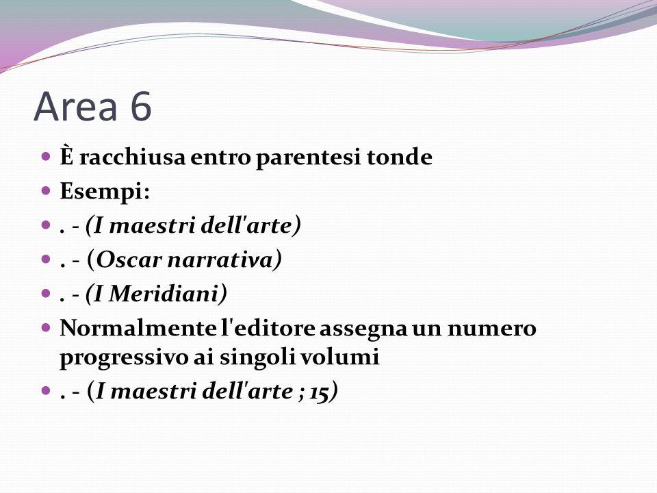 Area 6 È racchiusa entro parentesi tonde Esempi:.- (I maestri dell arte).