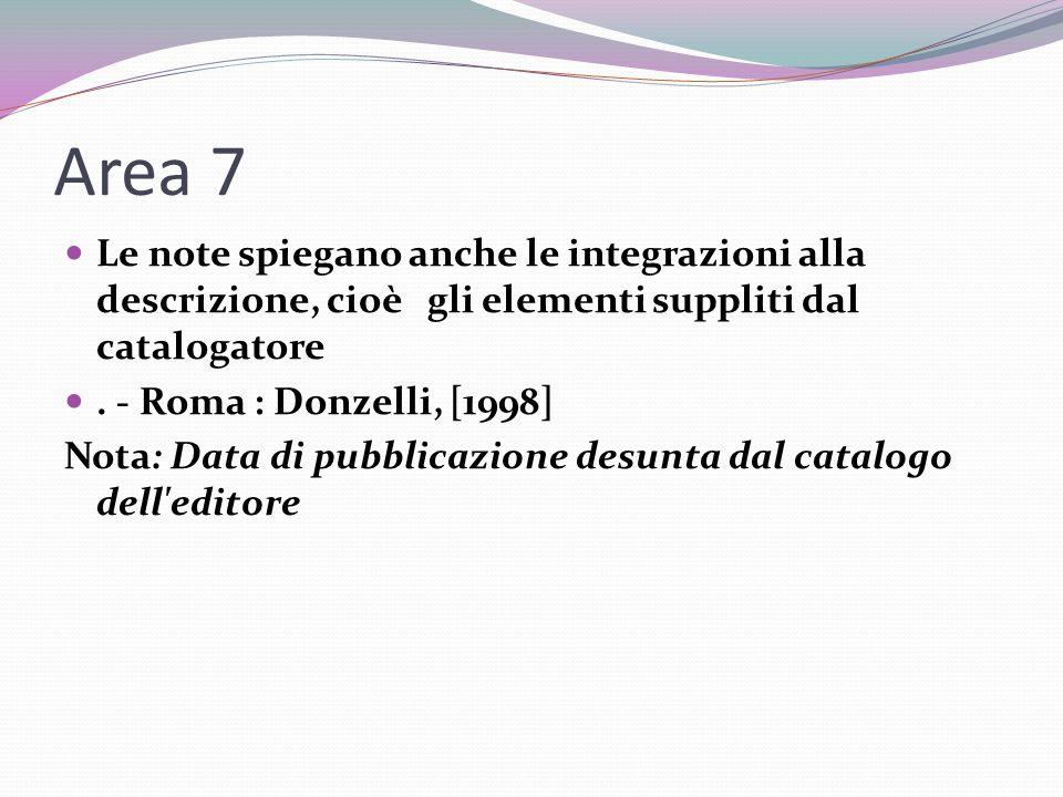 Area 7 Le note spiegano anche le integrazioni alla descrizione, cioè gli elementi suppliti dal catalogatore.