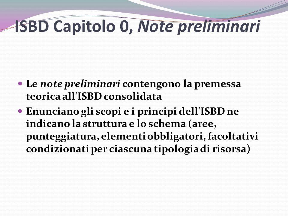 ISBD Capitolo 0, Note preliminari Le note preliminari contengono la premessa teorica all ISBD consolidata Enunciano gli scopi e i principi dell ISBD ne indicano la struttura e lo schema (aree, punteggiatura, elementi obbligatori, facoltativi condizionati per ciascuna tipologia di risorsa)