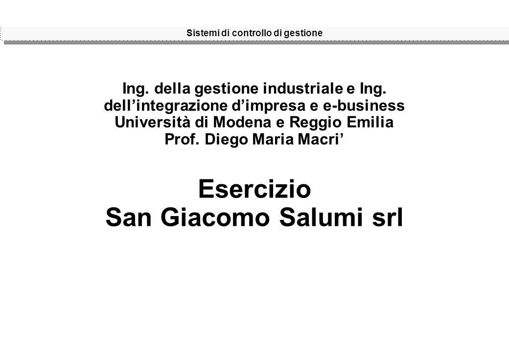 Sistemi di controllo di gestione Ing. della gestione industriale e Ing.