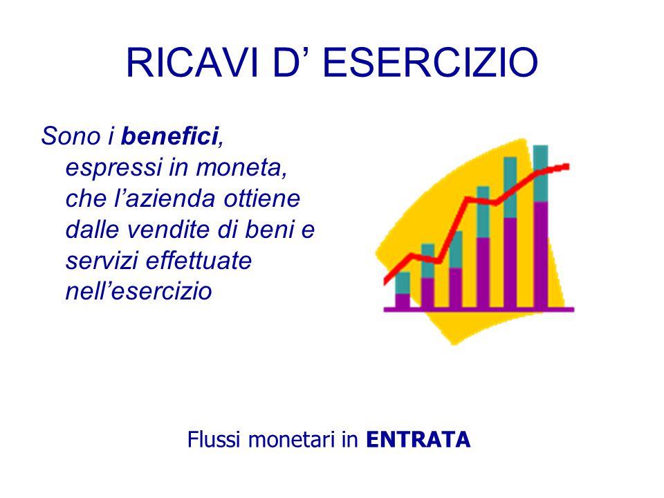 L'EQUAZIONE ECONOMICA REDDITO d'esercizio = RICAVI d'esercizio - COSTI d'esercizio
